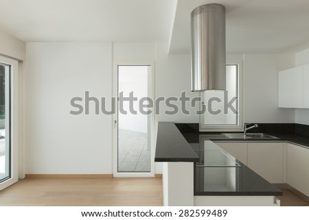 Interior, domestic kitchen of a modern apartment - stock photo