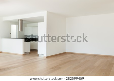 Interior, domestic kitchen of a modern apartment, view from the living - stock photo
