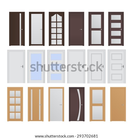 Interior doors. Illustration isolated on white background. Raster version - stock photo