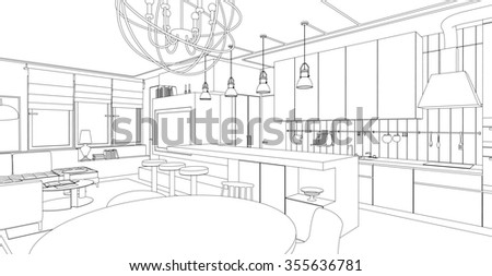 Interior drawing. Architectural design. Raster version.