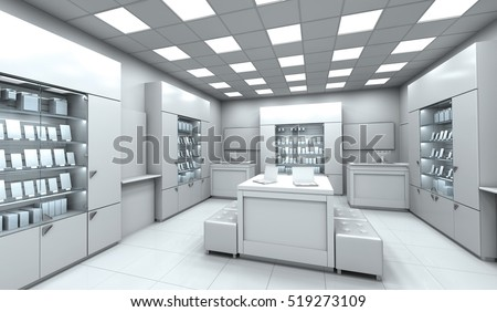 Interior Electronics Store With A Demonstration Wardrobes. 3d Image.
