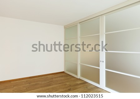 interior empty house with wooden floor - stock photo