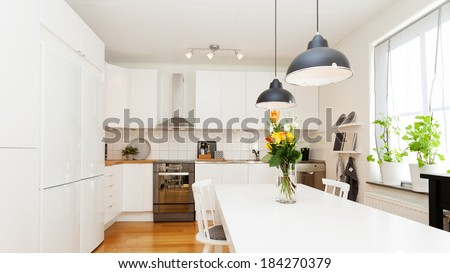 interior fancy kitchen - stock photo