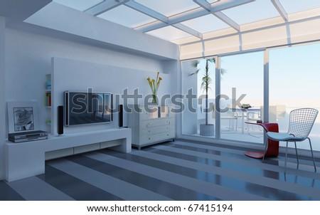 Interior fashionable living-room rendering - stock photo