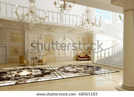 Interior fashionable living-room rendering - stock photo