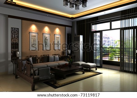 Interior Fashionable Living Room Rendering