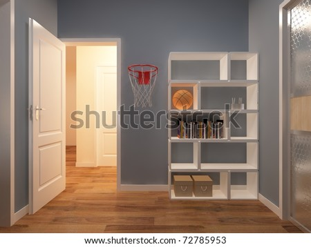 Interior fashionable room rendering