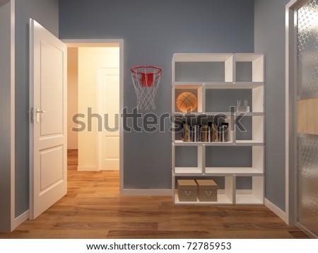 Interior fashionable room rendering - stock photo