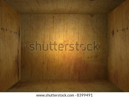 interior frame - old wooden box - stock photo
