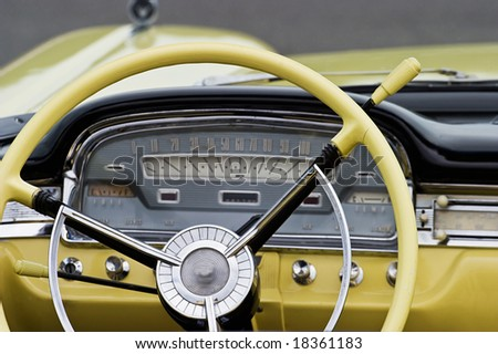 Interior from a old american car - stock photo
