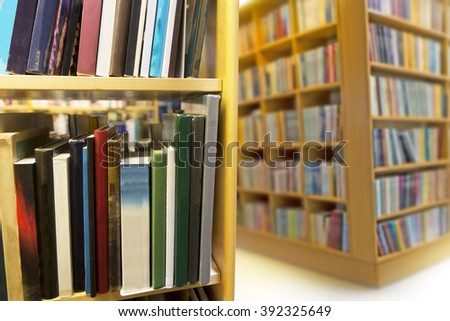 interior from public library, close up of bookcase - stock photo