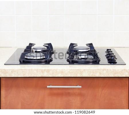 interior - Gas Hob modern kitchen - stock photo