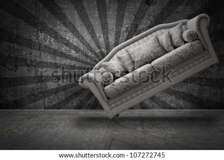 interior grunge room with classic vintage sofa - stock photo