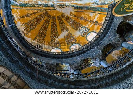 Interior Hagia Sophia, Aya Sofya museum in Istanbul Turkey - stock photo