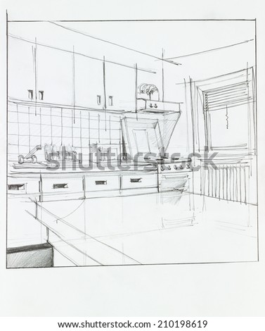 interior hand drawn perspective of kitchen - stock photo