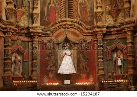 Interior -- Historic San Xavier del Bac Mission, Tucson, Arizona, USA - stock photo