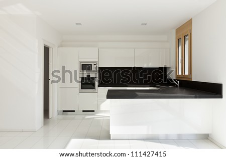 interior home, new kitchen, open space - stock photo