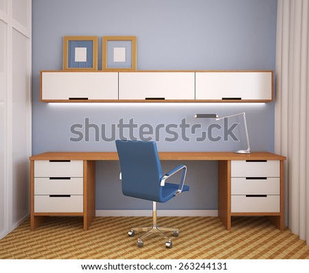 Interior. Home office. 3d render. - stock photo