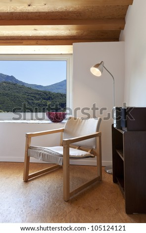 interior home, room with chair, detail - stock photo