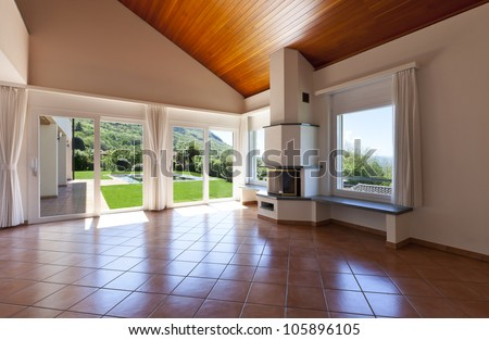 interior home,view of room with fireplace - stock photo