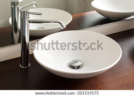 interior house, bathroom, design sink - stock photo