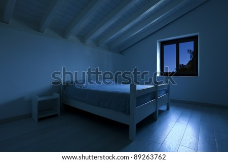 interior house, bedroom at night