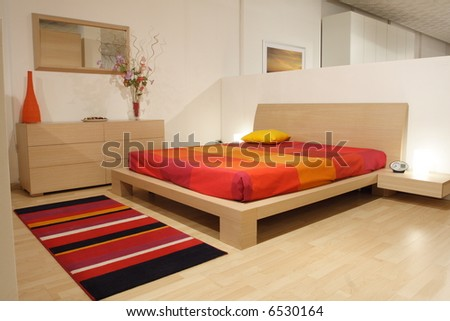 interior house, detail of modern wood bedroom