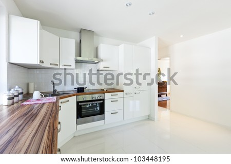 interior house, large modern kitchen - stock photo