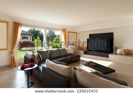 Interior House, Nice Living Room With Leather Sofa