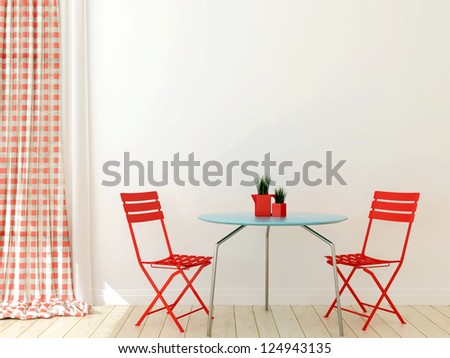 Interior in a modern style with two red chairs and blue table - stock photo