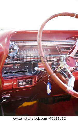 Interior in a old american car - stock photo