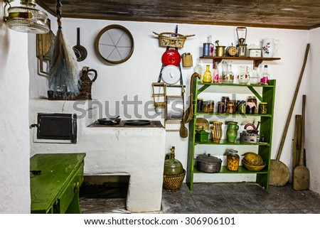 Interior in an old rural Kitchen with an old fashioned household items.