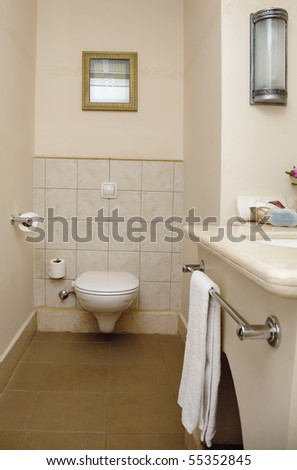 interior in bathroom. toilet