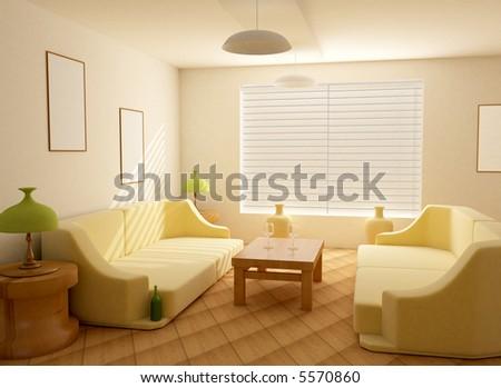 Interior in light tones sofa  table  window jalousie - stock photo