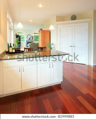 Interior in Luxury Home: kitchen area with hardwood floors and view of hallway and living room - stock photo
