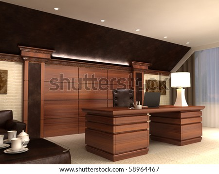 Interior in modern style, in light tones and with wooden elements. Kind on a table. - stock photo