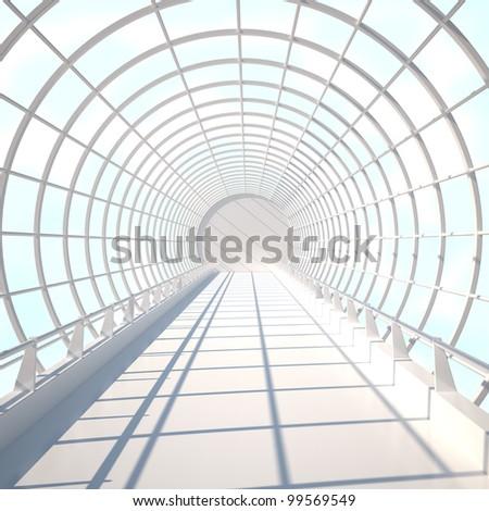 Interior in Sky - 3d illustration - stock photo