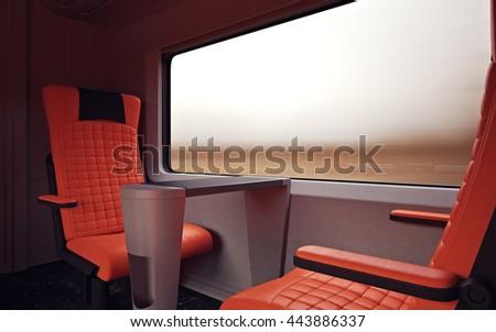 firstclass modern armchair. Interior Inside First Class Cabin Modern Speed Express Train Nobody Red  Chairs Window Comfort Stock Illustration