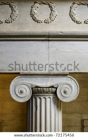 Interior ionic pillar - stock photo