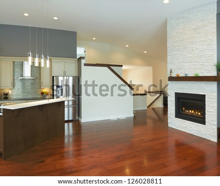 Interior kitchen design with fireplace in a new house
