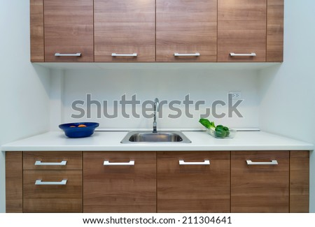 Interior kitchen with cabinet - stock photo