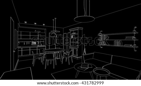 Interior line drawing. 3d Raster version - stock photo