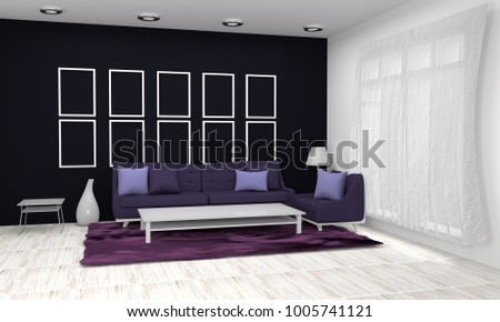 Interior Living Room And Purple Armchairs 3D Rendering Illustration.