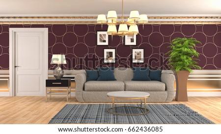 Interior Living Room. 3d Illustration Part 87