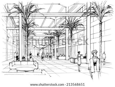 interior lobby - stock photo