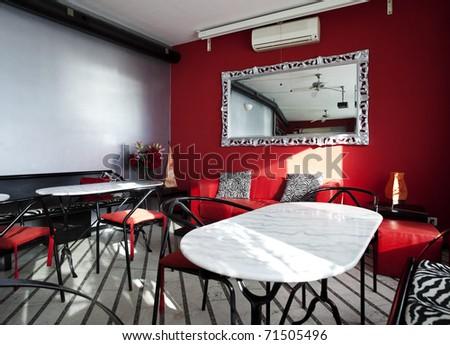 interior local, bar red wall - stock photo
