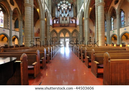 Interior look a historical church in victoria, british columbia, canada