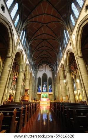 Interior look a historical church in victoria, british columbia, canada - stock photo
