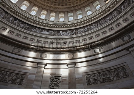 Interior looking up inside the United States Capitol building. - stock photo