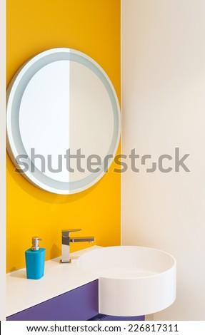 interior, lovely apartment, detail bathroom - stock photo